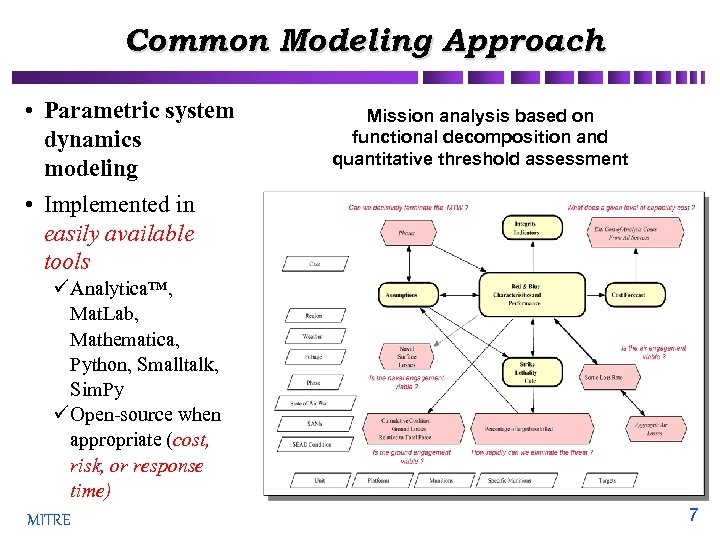 Common Modeling Approach • Parametric system dynamics modeling • Implemented in easily available tools