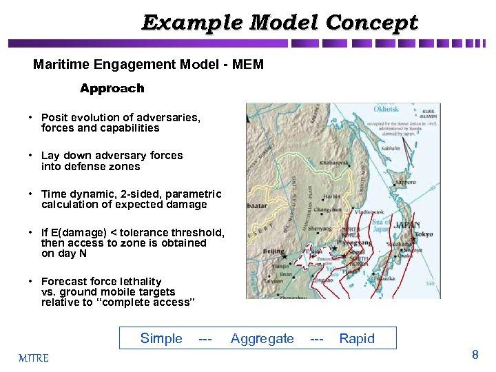 Example Model Concept Maritime Engagement Model - MEM Approach • Posit evolution of adversaries,
