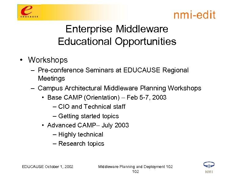 Enterprise Middleware Educational Opportunities • Workshops – Pre-conference Seminars at EDUCAUSE Regional Meetings –