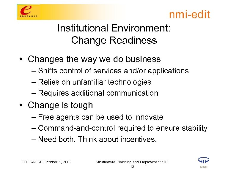 Institutional Environment: Change Readiness • Changes the way we do business – Shifts control