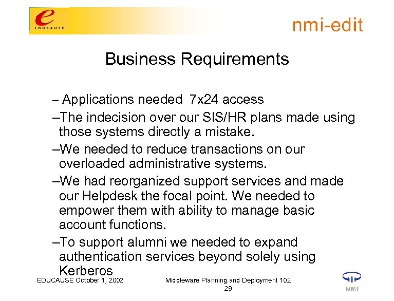 Business Requirements – Applications needed 7 x 24 access –The indecision over our SIS/HR