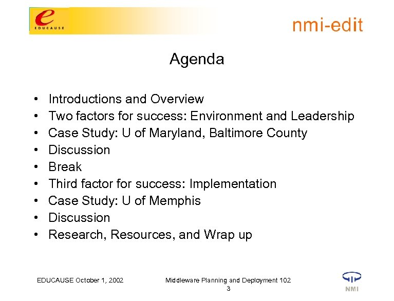 Agenda • • • Introductions and Overview Two factors for success: Environment and Leadership