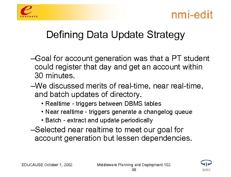 Defining Data Update Strategy –Goal for account generation was that a PT student could