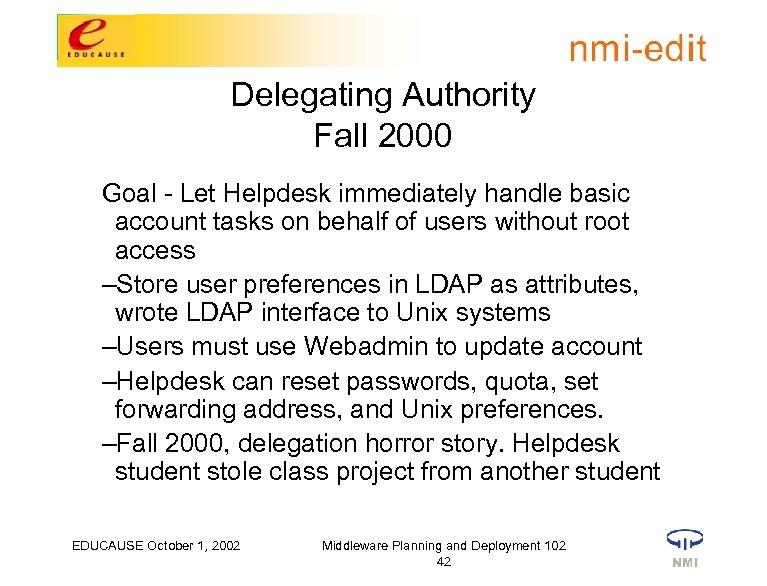 Delegating Authority Fall 2000 Goal - Let Helpdesk immediately handle basic account tasks on