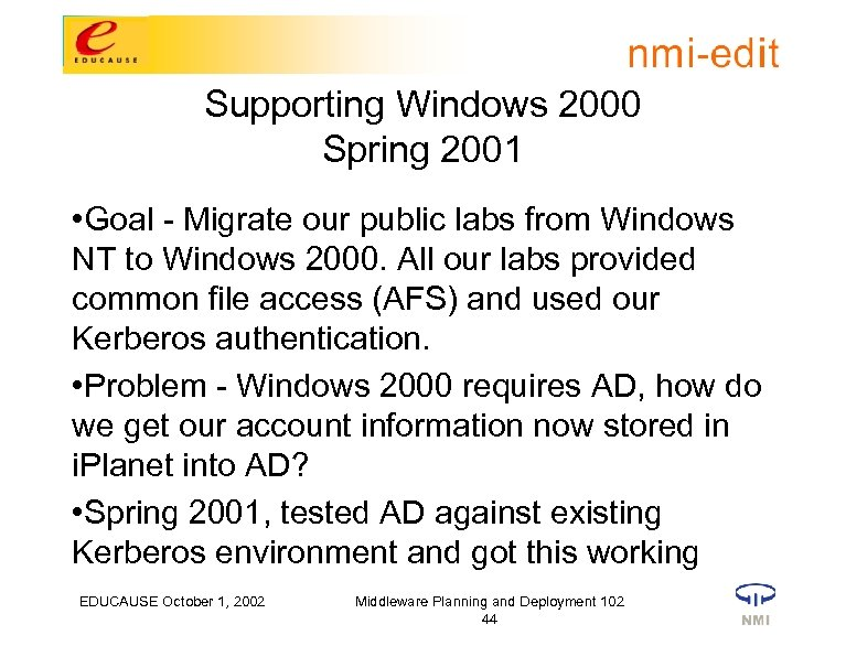 Supporting Windows 2000 Spring 2001 • Goal - Migrate our public labs from Windows