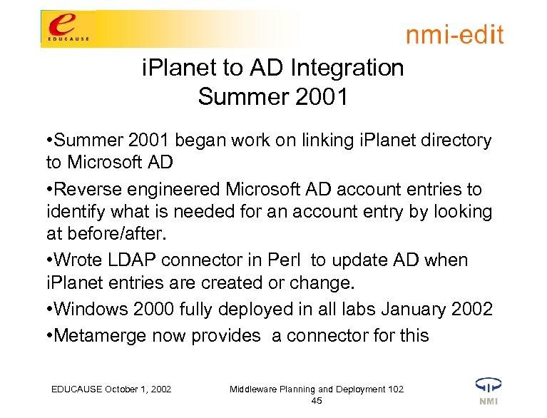 i. Planet to AD Integration Summer 2001 • Summer 2001 began work on linking