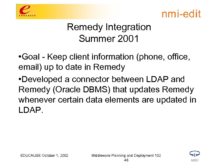 Remedy Integration Summer 2001 • Goal - Keep client information (phone, office, email) up