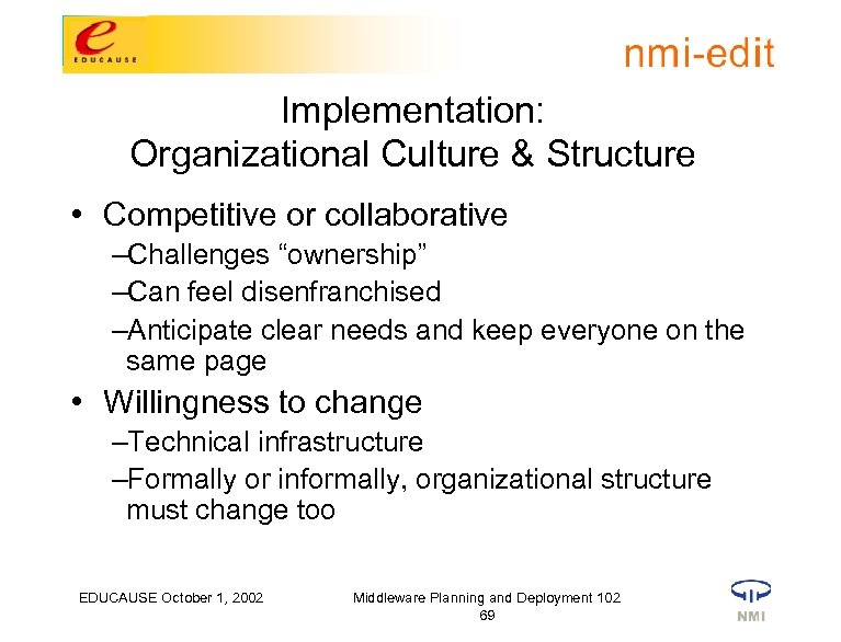 """Implementation: Organizational Culture & Structure • Competitive or collaborative –Challenges """"ownership"""" –Can feel disenfranchised"""