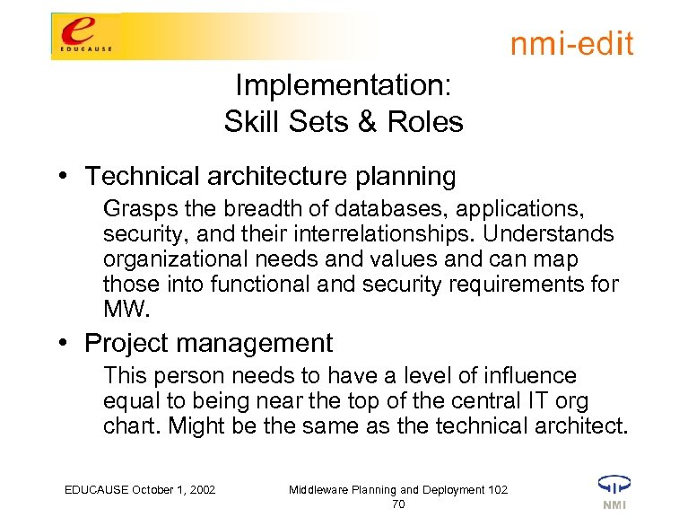 Implementation: Skill Sets & Roles • Technical architecture planning Grasps the breadth of databases,
