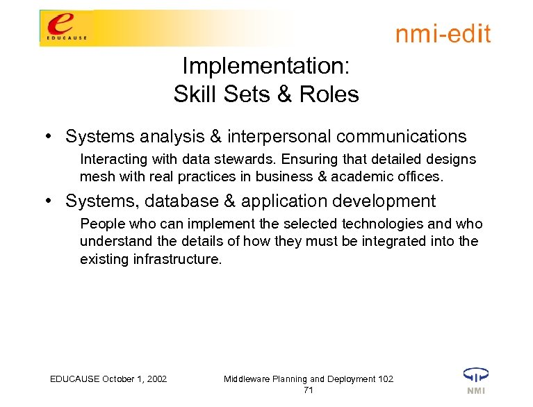 Implementation: Skill Sets & Roles • Systems analysis & interpersonal communications Interacting with data