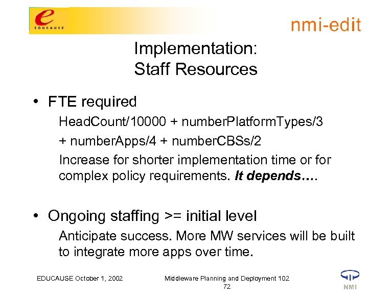 Implementation: Staff Resources • FTE required Head. Count/10000 + number. Platform. Types/3 + number.