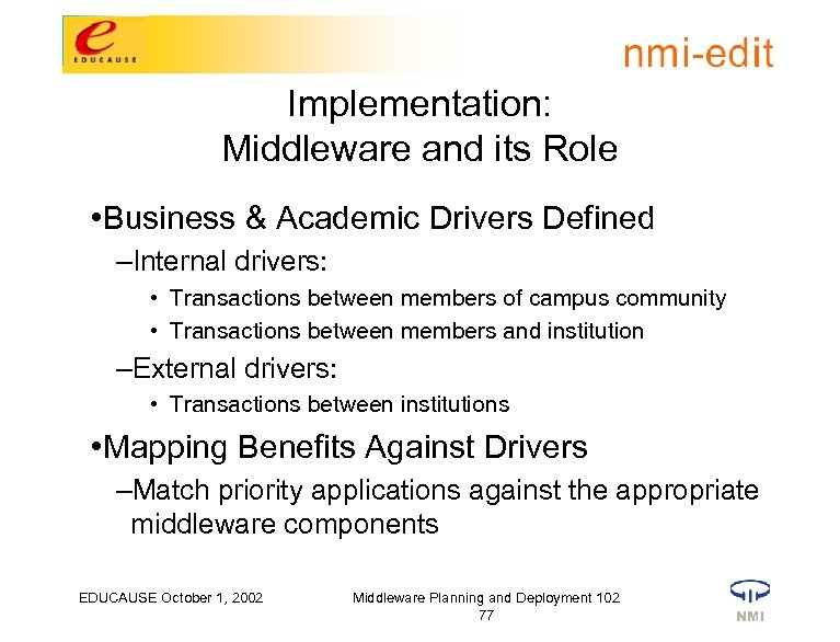 Implementation: Middleware and its Role • Business & Academic Drivers Defined –Internal drivers: •