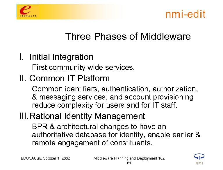 Three Phases of Middleware I. Initial Integration First community wide services. II. Common IT
