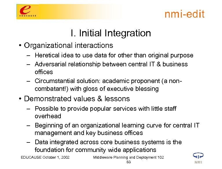I. Initial Integration • Organizational interactions – Heretical idea to use data for other