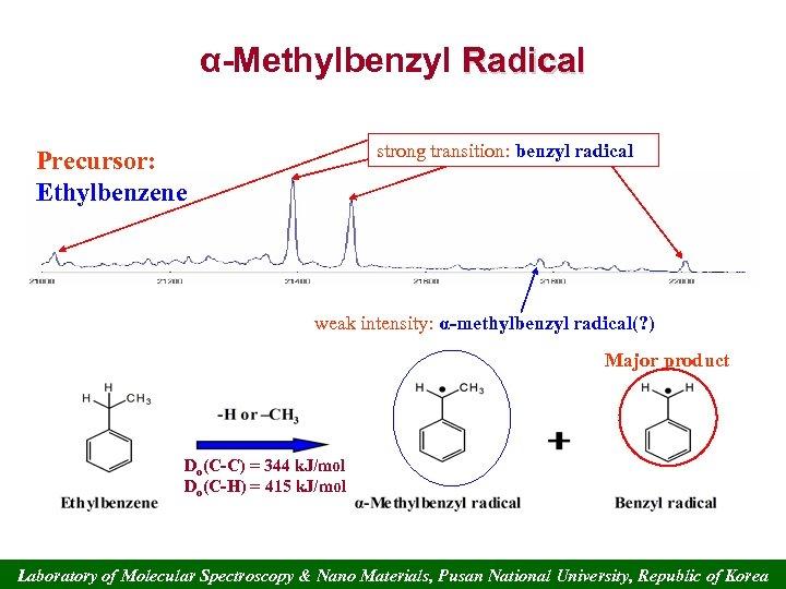 α-Methylbenzyl Radical strong transition: benzyl radical Precursor: Ethylbenzene weak intensity: α-methylbenzyl radical(? ) Major