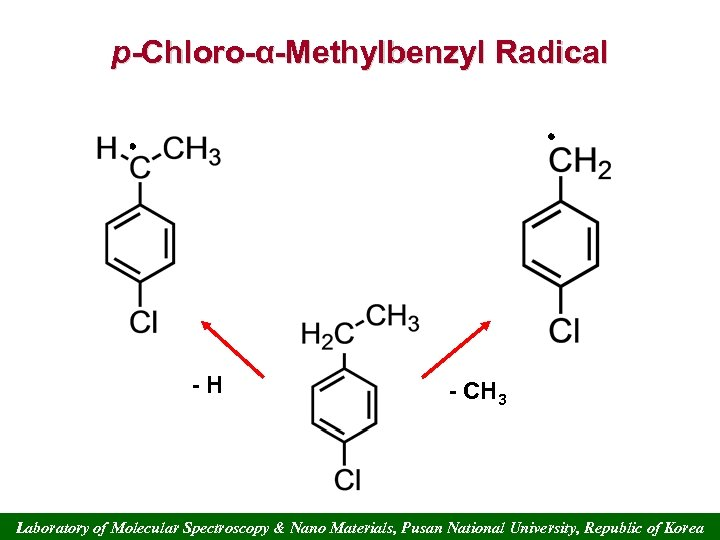p-Chloro-α-Methylbenzyl Radical -H - CH 3 Laboratory of Molecular Spectroscopy & Nano Materials, Pusan