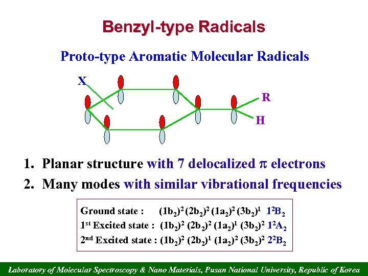 Benzyl-type Radicals Proto-type Aromatic Molecular Radicals X R H 1. Planar structure with 7