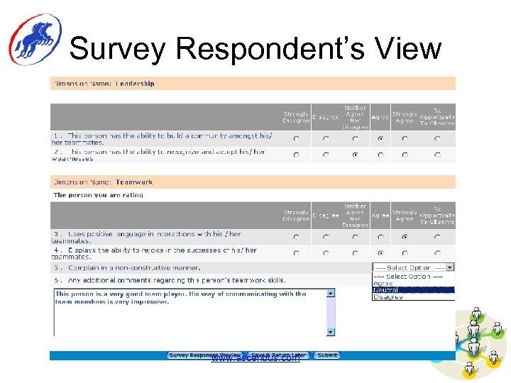Survey Respondent's View www. ascendus. com