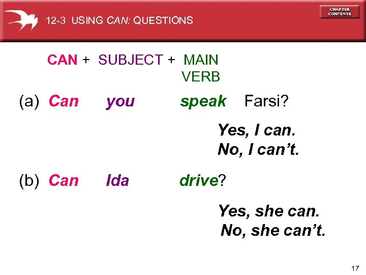 12 -3 USING CAN: QUESTIONS CAN + SUBJECT + MAIN VERB (a) Can you