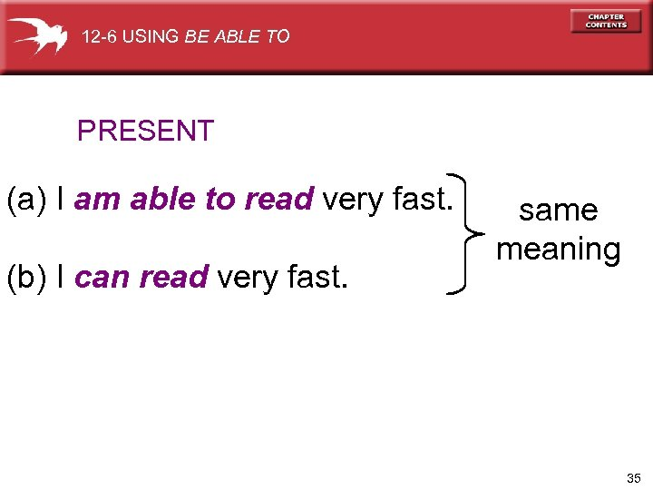 12 -6 USING BE ABLE TO PRESENT (a) I am able to read very