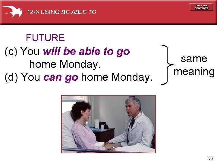 12 -6 USING BE ABLE TO FUTURE (c) You will be able to go