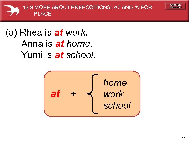 12 -9 MORE ABOUT PREPOSITIONS: AT AND IN FOR PLACE (a) Rhea is at