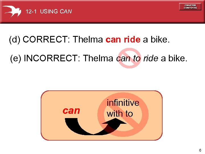 12 -1 USING CAN (d) CORRECT: Thelma can ride a bike. (e) INCORRECT: Thelma