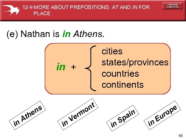 12 -9 MORE ABOUT PREPOSITIONS: AT AND IN FOR PLACE (e) Nathan is in