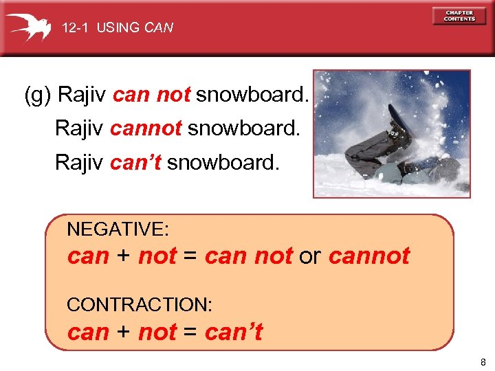 12 -1 USING CAN (g) Rajiv can not snowboard. Rajiv can't snowboard. NEGATIVE: can