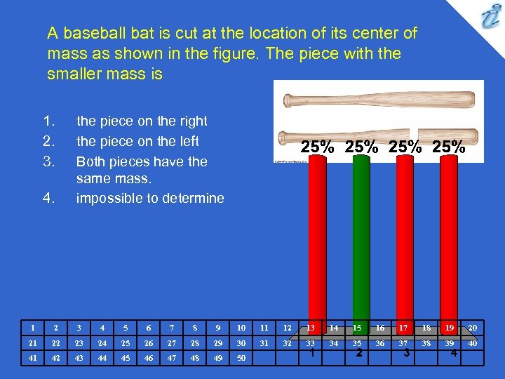 A baseball bat is cut at the location of its center of mass as