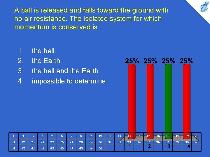 A ball is released and falls toward the ground with no air resistance. The