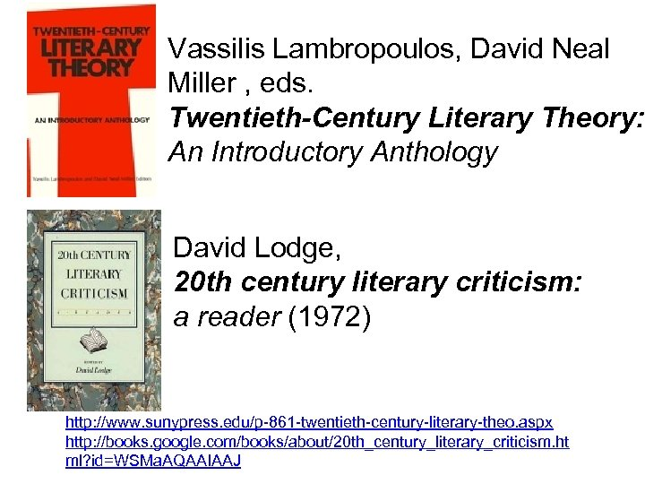 Vassilis Lambropoulos, David Neal Miller , eds. Twentieth-Century Literary Theory: An Introductory Anthology David