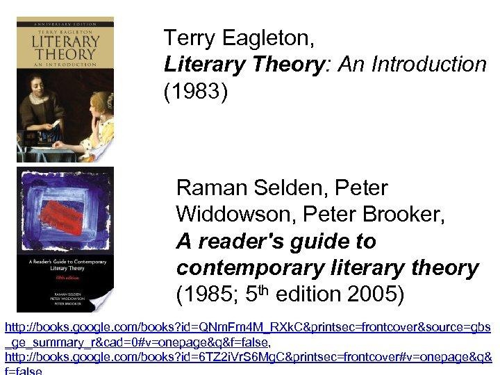 Terry Eagleton, Literary Theory: An Introduction (1983) Raman Selden, Peter Widdowson, Peter Brooker, A