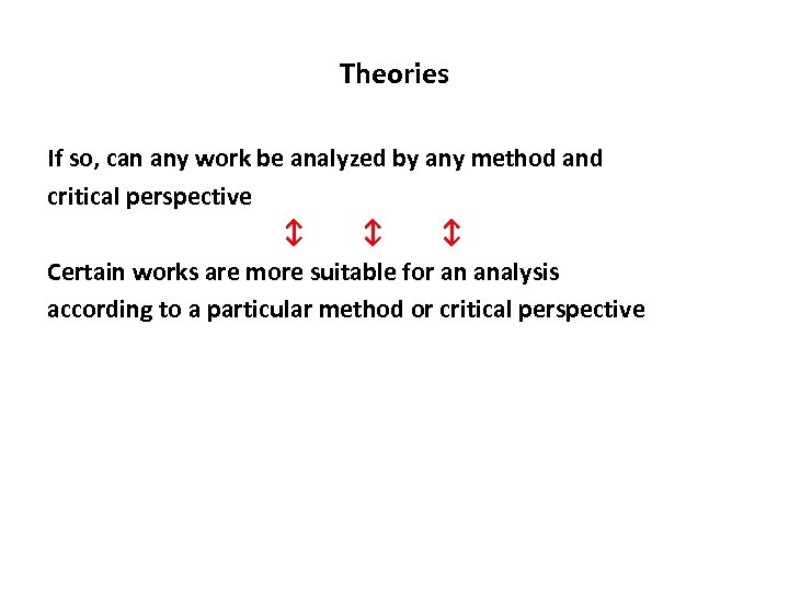 Theories If so, can any work be analyzed by any method and critical perspective