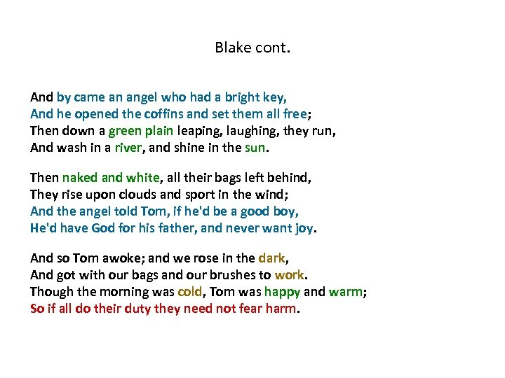 Blake cont. And by came an angel who had a bright key, And he