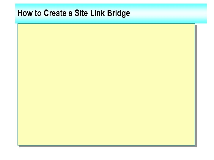 How to Create a Site Link Bridge