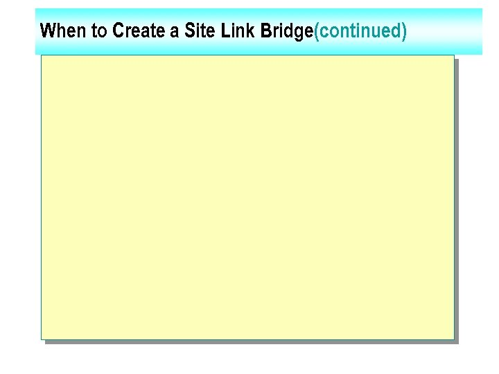 When to Create a Site Link Bridge(continued)