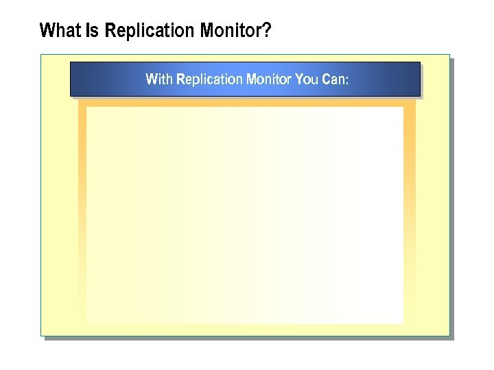 What Is Replication Monitor? With Replication Monitor You Can: