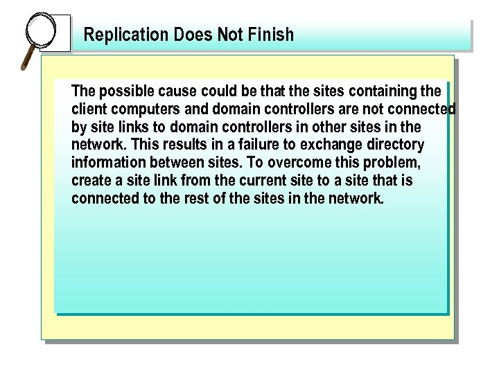 Replication Does Not Finish The possible cause could be that the sites containing the