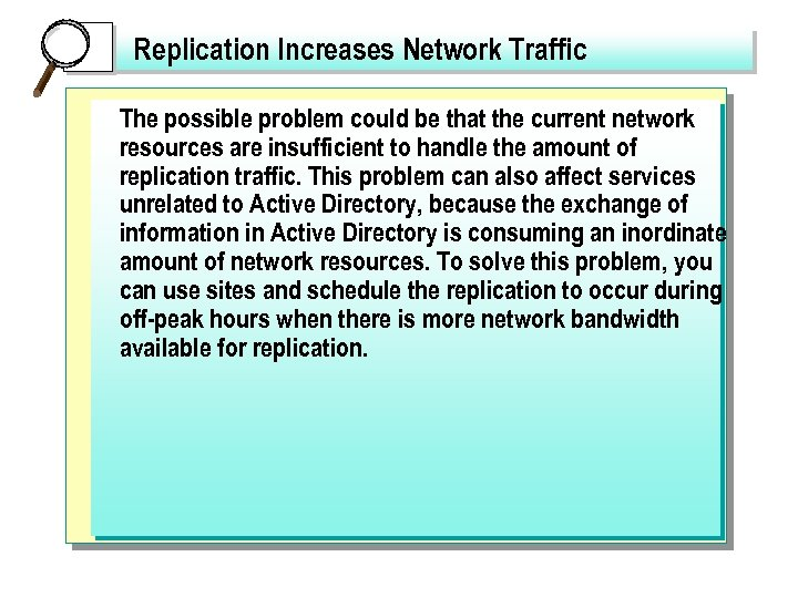 Replication Increases Network Traffic The possible problem could be that the current network resources