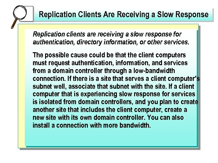 Replication Clients Are Receiving a Slow Response Replication clients are receiving a slow response