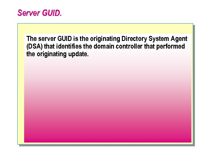 Server GUID. The server GUID is the originating Directory System Agent (DSA) that identifies