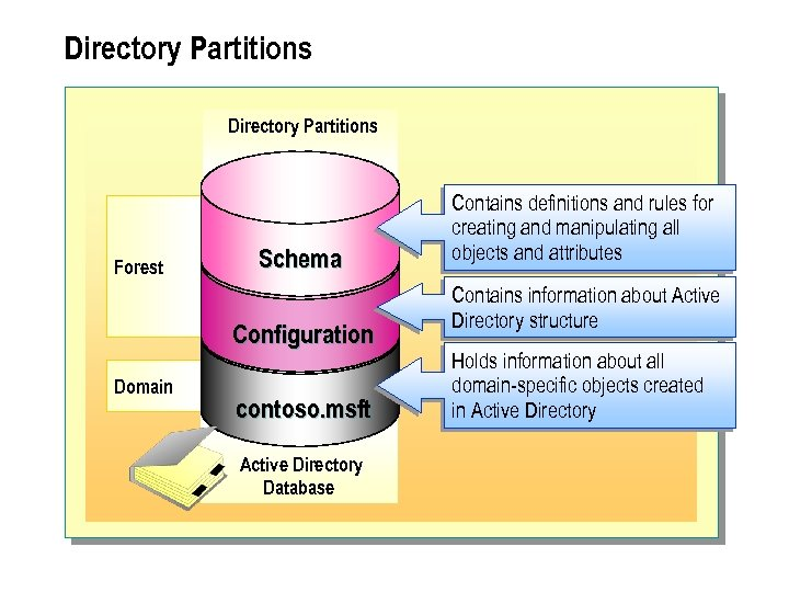Directory Partitions Forest Schema Configuration Domain contoso. msft Active Directory Database Contains definitions and