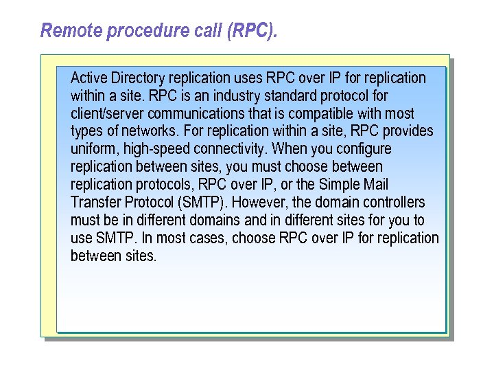 Remote procedure call (RPC). Active Directory replication uses RPC over IP for replication within