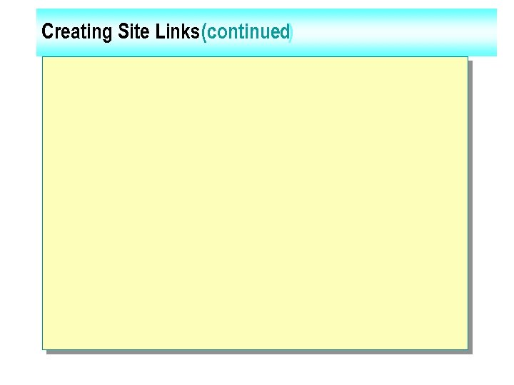Creating Site Links (continued)