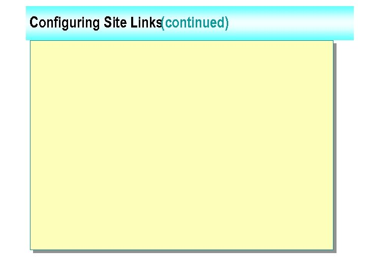 Configuring Site Links(continued)