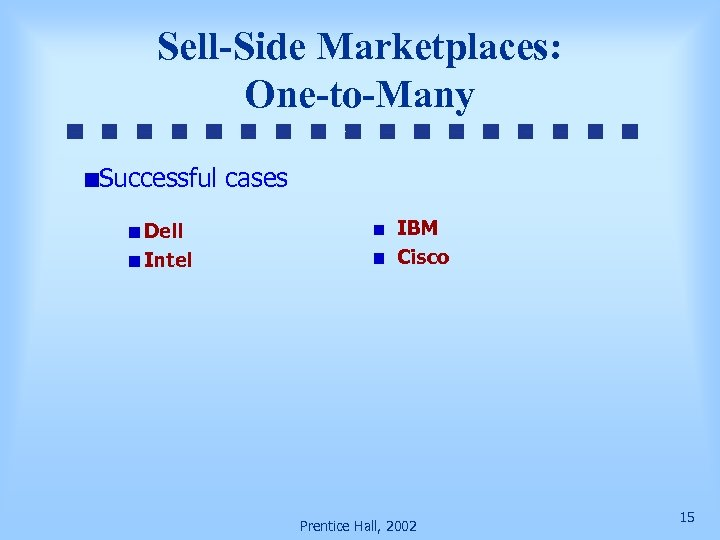 Sell-Side Marketplaces: One-to-Many Successful cases Dell Intel IBM Cisco Prentice Hall, 2002 15