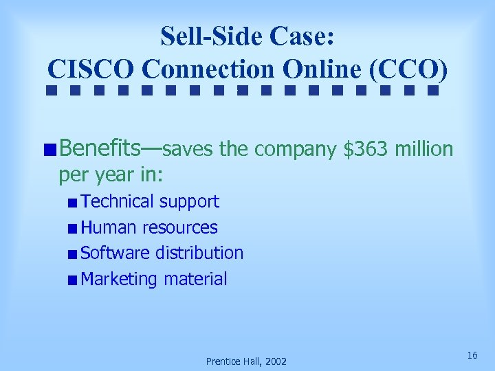 Sell-Side Case: CISCO Connection Online (CCO) Benefits—saves the company $363 million per year in: