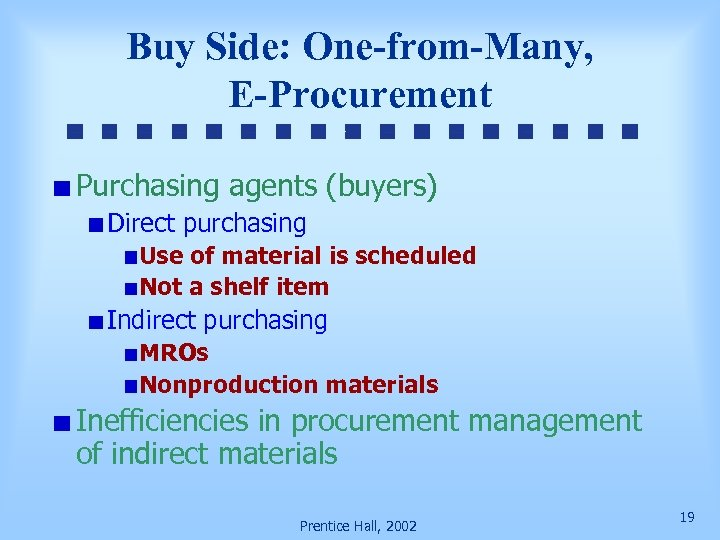 Buy Side: One-from-Many, E-Procurement Purchasing agents (buyers) Direct purchasing Use of material is scheduled