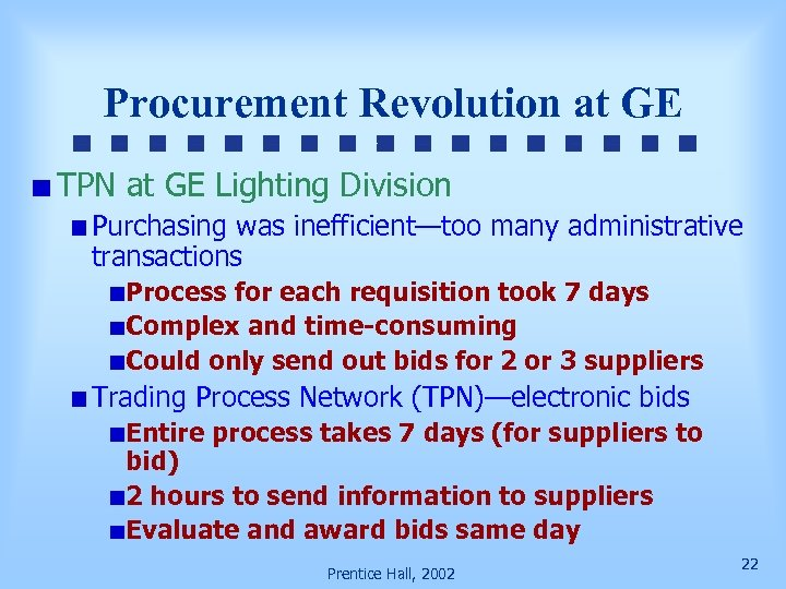 Procurement Revolution at GE TPN at GE Lighting Division Purchasing was inefficient—too many administrative